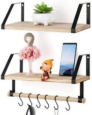 Floating Shelves 2 Pack Rustic Wood Wall Mounted Storage Shelf with Hooks