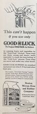 1919 AD.(XC25)~BOSTON WOVEN HOSE RUBBER CO. CAMBRIDGE. GOOD LUCK JAR RUBBERS