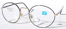 Vintage 90's Classic Round Metal Bi-Focal Reading Glasses +3.25 (Gold/Black)