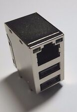 RJ45 & 2 USB  Metal PCB - Silver / Black  - 8+8+2 Pin Base Mount - UK - Free P&P