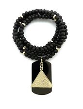 "NEW EGYPTIAN EYE OF HERU IN THE PYRAMID PENDANT & 30"" WOODEN BEAD NECKLACE"