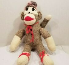 "Sock Monkey Plush Classic Retro Brown Red Lips 16"" Tall"