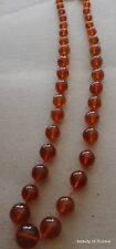 Antique Natural  cognac  Baltic Amber Round  Beads Necklace 52 grams     #51cog