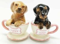 Tea Cup Red Black Dachshund Dog Puppy Love Ceramic Salt Pepper Shakers Figurine