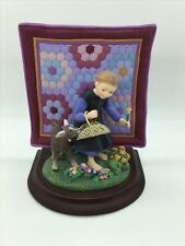 The Amish Heritage Rebecca & Sam Figurine W/ Wood Base & Quilt #30015 Nib & Coa