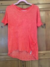 Twisted Muse Sz Small 10 12 14 Orange Linen Oversized TOP 'India' Short Sleeved