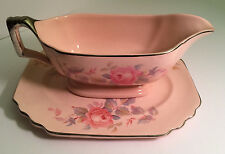 VINTAGE ROYAL CHINA USA, ROSE MARIE - 2 PC GRAVY BOAT  PINK ROSES ON PINK