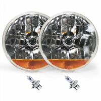 "Street Hot Rat Rod 7"" Tri Bar Blue Dot H4 Headlights PAIR Amber Turn Signals 12v"