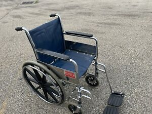 Wheelchair folding,with leg rests,blue