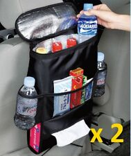 Car Back Seat Organiser Tidy Hot/Cold Insulated Cooler Bag Drinks Holder x 2