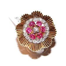 ANELLO ORO 18kt DIAMANTI RUBINI VINTAGE GOLD RING DIAMONDS JEWELS DIAMANTS D'OR