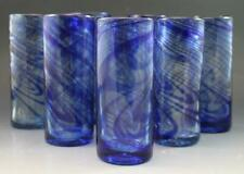 Vintage Orion Mexican Blue Swirl Set of 8 Tall Tumbler Glasses