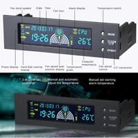 NEW 5.25'' LCD Fan Speed Controller Panel CPU HD C/F Temp Temperature Sensor PC