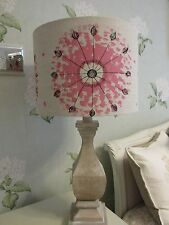 Handmade Drum Lampshade Kissing Fish Design Henrietta Street Pink fabric 30cm