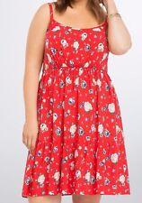 Torrid Floral Tiered Challis Sundress Red Size 00 Aka Med Large Aka 10 #54133