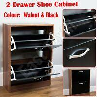 2 Drawer Shoe Storage Cabinet Wooden Rack Cupboard Shoes Footwear Organiser Unit