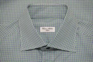 Cesare Attolini Napoli Blue Lime Green Plaid Spread Collar Dress Shirt Sz 17