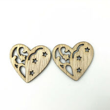 50X Wooden Heart-shaped Hollow Pendant Decoration Scrapbooking Handicrafts 30mm