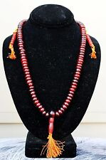 Tibetan 108 Natural OX Horn Prayer Beads 3 Tassel Yoga Meditation Mala Necklace