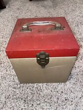 Vintage Red And Cream Metal 45 RPM Record Storage Case with Records And Divider