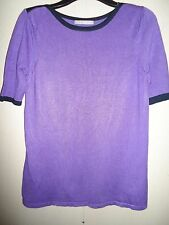 MARKS & SPENCER PURPLE /ULTRA VIOLET SHORT SLEEVED JUMPER WITH NAVY TRIM SIZE 12
