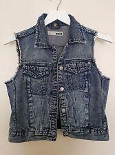 Moto Topshop Women Denim Jeans  Sleeveless Jacket Vintage Style Festival UK12/40