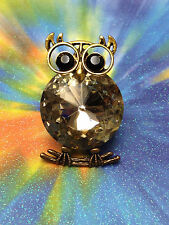 OWL GOLD STRETCH RING w/ BIG IRIDESCENT STONE & BLACK EYES  WOMENS SIZE 7 8 9 10