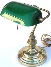 Vintage Green Adjustable Glass Shade Brass Toned Banker's Desk Piano Lamp Light