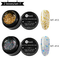 5ml MTSSII UV Gel Nail Polish Soak off Sequin Glitter Gel Varnish Manicure Set