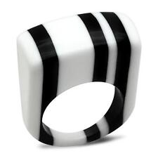 Cocktail STRIPE  RESIN LUCITE plastic Rainbow Ring .Size 8. FREE USA SHIPPING!sc