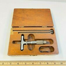 Vintage Lufkin 513 2 2 Base Chrome Clad Micrometer Depth Gage With Box Amp Rods