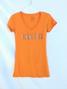University TN VOLS Volunteers Womens SMALL T-shirt Orange w/ Rhinestones V-Neck