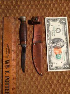 Vintage KA-BAR Fixed Blade Small Game Hunting Knife w/ Leather Sheath