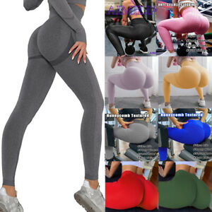 Women Anti-Cellulite Yoga Pants High Waist Ruched Butt Lift Leggings Fitness AAE