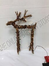 Pottery Barn Lit Light Up Natural Twig Fawn Deer Christmas Holiday Decor LARGE