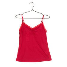 Cami Top Size M Lace Trim Ruched Slightly See Through Sleeveless Strappy