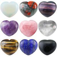 Puff Heart Palm Stone Worry Stone Crystal Gems Healing Chakra Balancing 1.6''