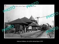 OLD POSTCARD SIZE PHOTO OF ANDERSON INDIANA VIEW OF THE RAILROAD DEPOT c1910