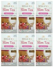 6 PACK of Hyleys Slim Tea Pomegranate Green Tea 100% Natural (25 tea bags each)