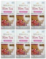 6 PACK of Hyleys Slim Tea Pomegranate Green Tea 100% Natural (25 tea bags each)