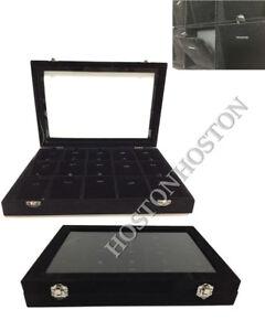 Glass Lid Velvet Necklace Pendant Chian Jewellery Display Storage Box Showcase