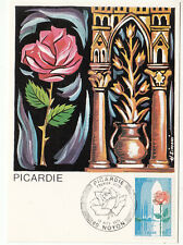 CARTE MAXIMUM FDC 1975 TIMBRE N° 1847 REGION PICARDIE ROSE