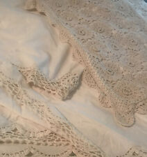Vintage Crochet Bed Skirt Dust Ruffle King Beige Farmhouse W Pillow Shams