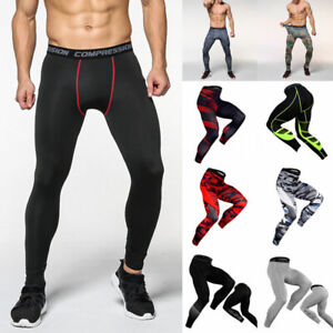 Mens Compression Base Layer Leggings Running Gym Sport Pants Stretch Trousers