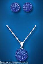 Argent Solide Pendentif et Earrings Set Bleu Cristal Autrichien