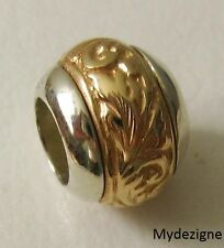 GENUINE SERENITY 9ct  9K SOLID YELLOW & WHITE  GOLD  CHARM  PATTERN  BEAD