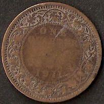 RARE BRITISH INDIA GEORGE V QUARTER 1/4 ANNA COIN 1911