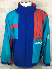Vintage Retro 90s ADIDAS Blue Green Shell Track Jacket Size XL