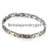 Womens Heart Titanium Steel Magnetic Therapy Bracelet with Link Removal Tool