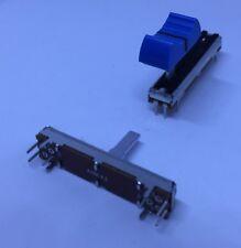 1x Schiebepotentiometer | 45mm | Mono | 10k | Linear | Poti mit Knob Blau